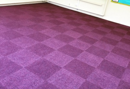 Carpet tiles installation holwell school